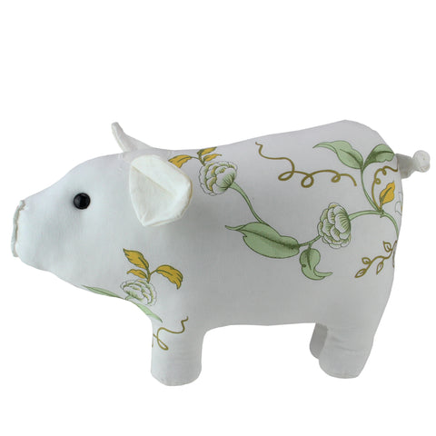 "13.25"" White, Soft Green and Yellow Floral Pig Spring Tabletop Decoration"