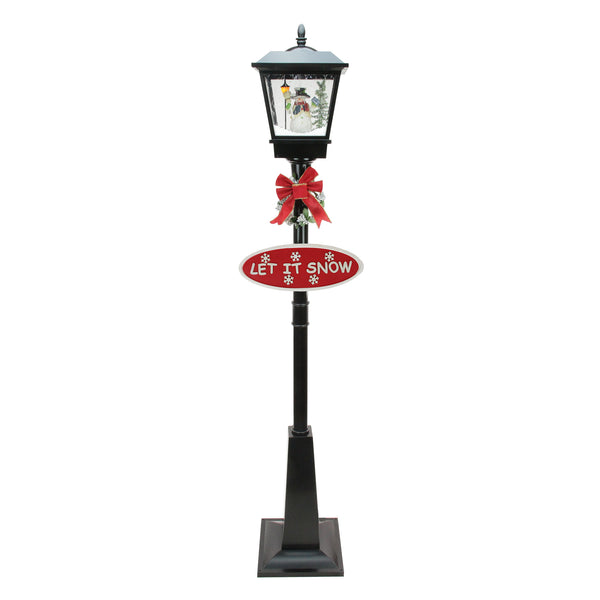"70.75"" Black Lighted Musical Snowman Vertical Snowing Christmas Street Lamp"