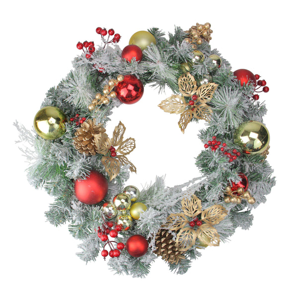 Red and Gold Ornaments with Berries Artificial Christmas Wreath - 24-Inch, Unlit