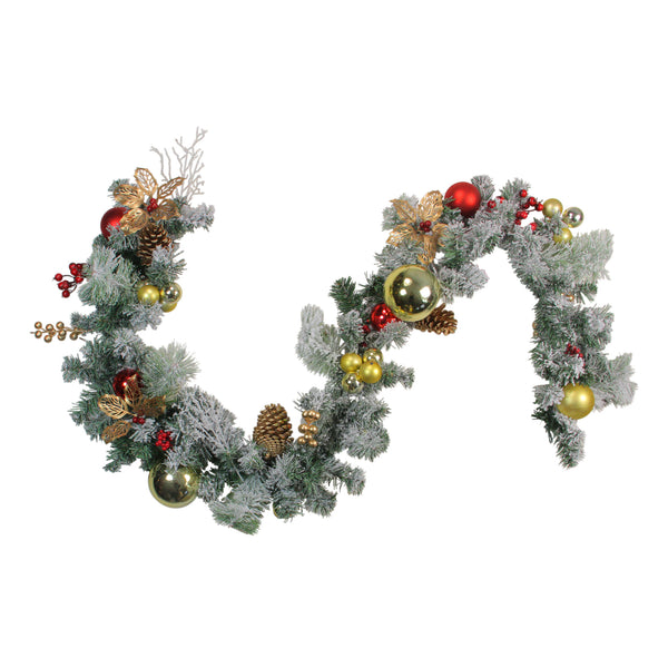 6 'x 12' Pre-Decorated Flocked Artificial Christmas Garland - Unlit