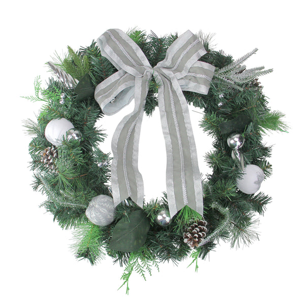 Bow and Pine Cone Artificial Christmas Wreath - 24-Inch, Unlit