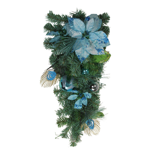 "24"" Blue and Silver Peacock and Poinsettia Artificial Christmas Teardrop Swag - Unlit"