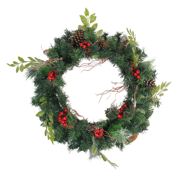 Pre-Decorated Frosted Pinecone and Berry Artificial Christmas Wreath - 24-Inch, Unlit