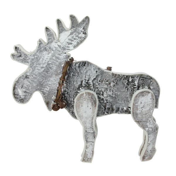"16"" Gray Natural Wood Standing Christmas Moose Table Top Figure"