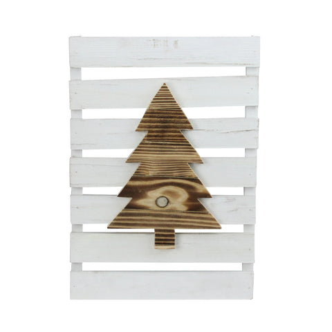 "15.75"" Wood Tree on White Pallet Inspired Frame Christmas Wall Hanging"