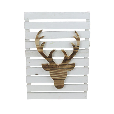 "15.75"" Wood Deer on White Pallet Inspired Frame Christmas Wall Hanging"