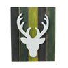 "13"" Wood Deer on Green Washed Pallet Inspired Frame Christmas Wall Hanging"