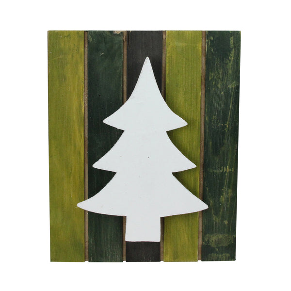 "13"" Wood Tree on Green Washed Pallet Inspired Frame Christmas Wall Hanging"