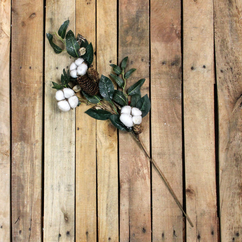 "27.25"" White Winter Cotton Flowers and Foliage Twig Pick"
