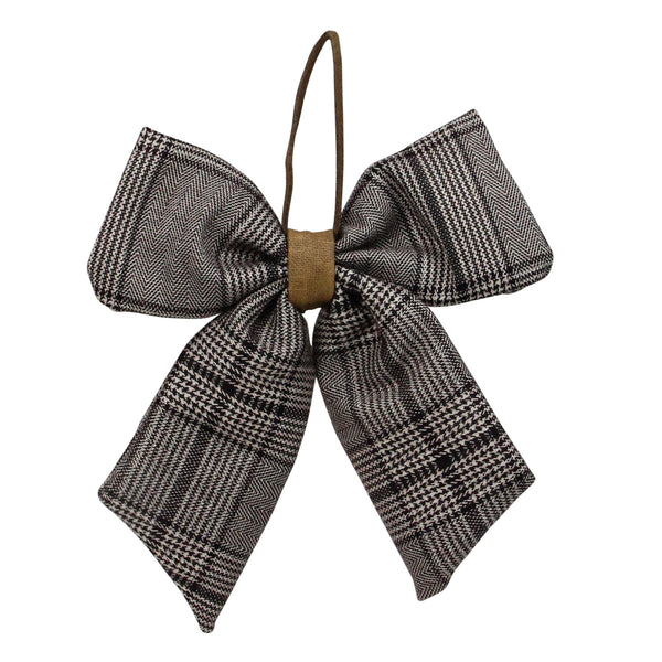 "19"" Black and White Plaid Two Loop Christmas Bow Decoration"