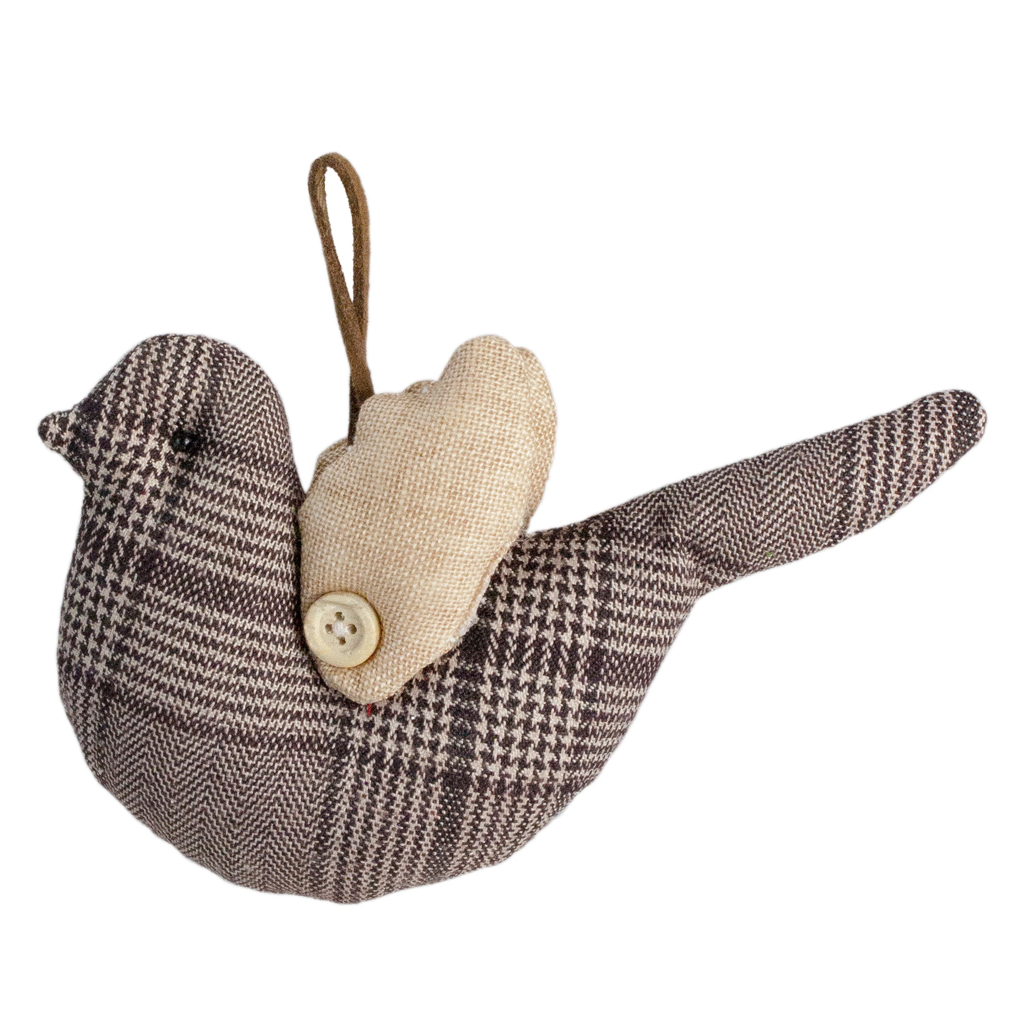 8 Brown And Beige Plaid Bird With Wings Christmas Ornament Northlight Seasonal
