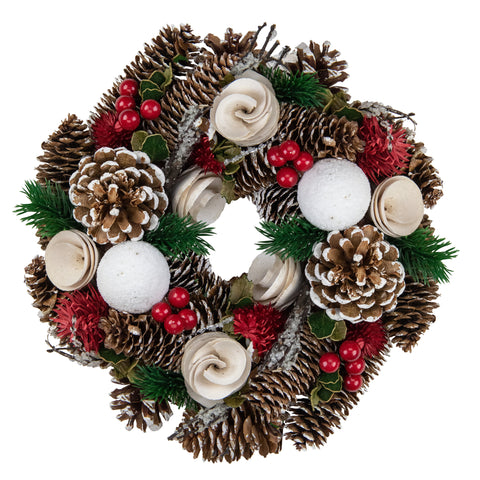"10"" Green and White Frosted Pine Cone and Berry Artificial Christmas Wreath - Unlit"