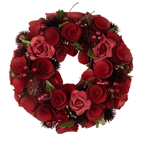 "10"" Red Wooden Rose and Berry Artificial Christmas Wreath - Unlit"