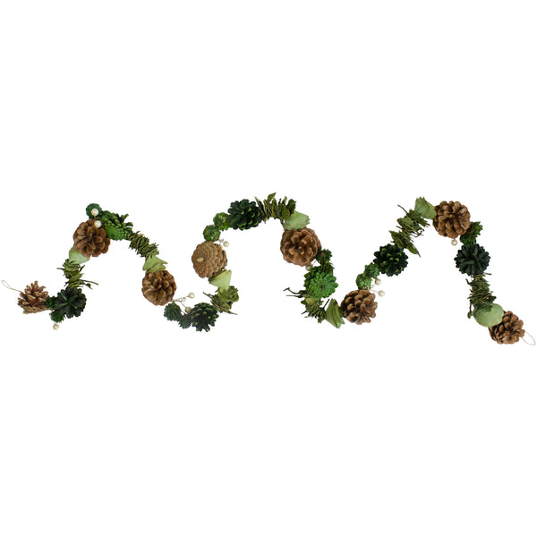 "5' x 3"" Pine Cone and Rose Artificial Garland - Unlit"