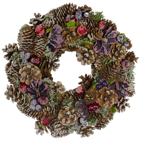 Sugared Purple and Red Pine Cone Artificial Christmas Wreath - 13-Inch, Unlit