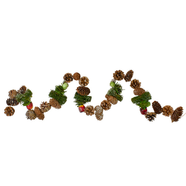 "5' x 5.25"" Apples and Pine Cone Artificial Christmas Garland - Unlit"