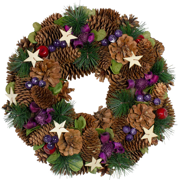 Brown and Purple Pine Cone with Stars, Berry Artificial Christmas Wreath - 13 inches Unlit