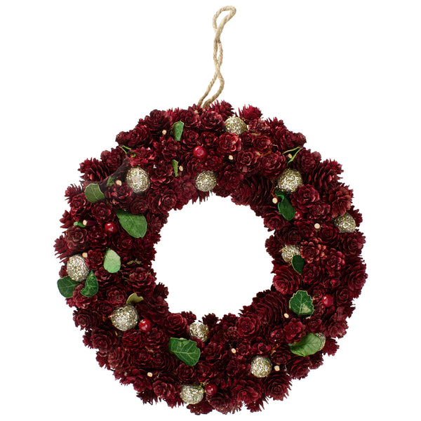 Red Pine Cone and Berry Artificial Christmas Wreath - 12-Inch, Unlit