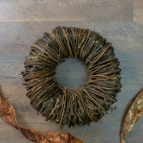 "12"" Brown Rustic Twig and Tree Bark Artificial Spring Wreath"