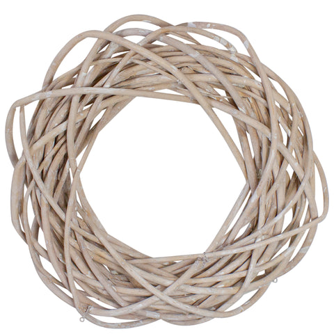 "12"" White Pealed Weeping Willow Branch Spring Wreath- Unlit"