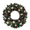Frosted Pine Cone with Berries and Stars Artificial Christmas Wreath - 14-Inch, Unlit