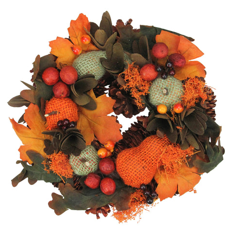 "10"" Autumn Harvest Gourds and Berries Artificial Thanksgiving Wreath Decoration"
