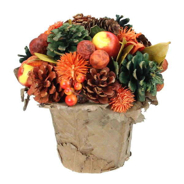 "7"" Orange Pine Cone and Fruit Autumn Harvest Artificial Potted Floral Centerpiece"
