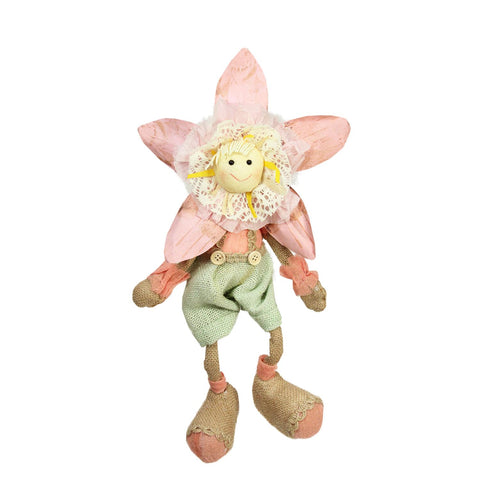"15.5"" Pink, Green and Tan Spring Floral Sitting Sunflower Girl Decorative Figure"