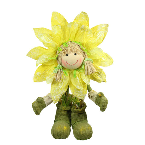 "17.5"" Yellow and Green Spring Floral Standing Sunflower Girl Decorative Figure"