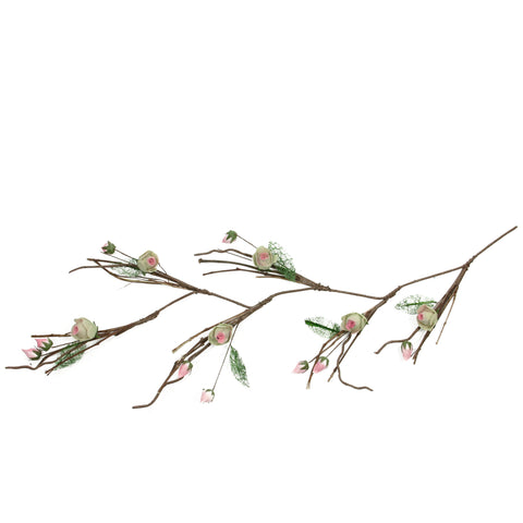 "4' x 3"" Brown and Pink Artificial Spring Floral Garland - Unlit"