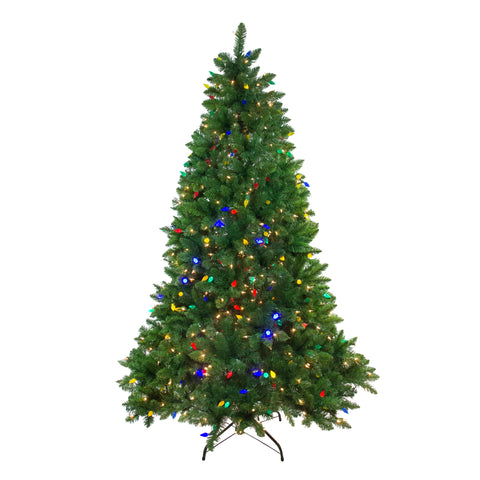 6.5' Pre-Lit Huron Pine Artificial Christmas Tree - Dual Lights