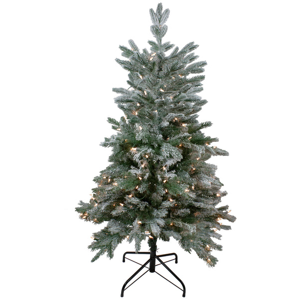 4.5' Pre-Lit Flocked Whistler Noble Fir Artificial Christmas Tree - Clear Lights