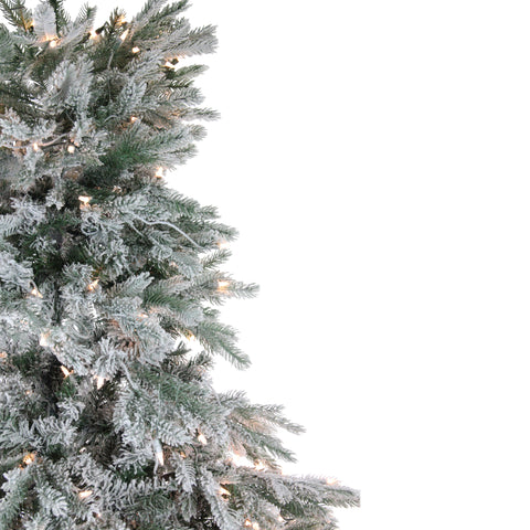 "9' x 88"" Pre-Lit Flocked Jasper Balsam Fir Artificial Christmas Tree - Clear Lights"