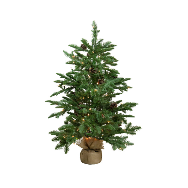 "3' x 28"" Pre-Lit Viella Norway Spruce Artificial Christmas Tree - Clear Lights"