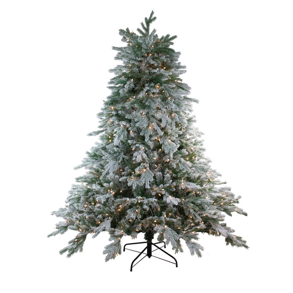 6.5' Pre-Lit Full Frosted Butte Fir Artificial Christmas Tree - Clear Lights