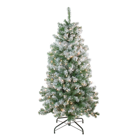 4.5' Pre-Lit Flocked Winema Pine Artificial Christmas Tree - Clear Lights