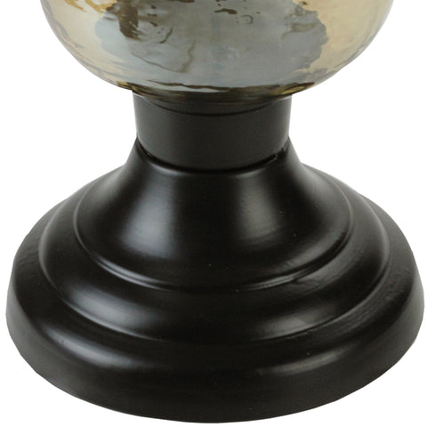 "15.5"" Decorative Golden Luster Hurricane Pillar Candle Holder with Black Base"