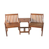 "70"" Brown Acacia Wood Jack and Jill Chair With Table Outdoor Patio Set"