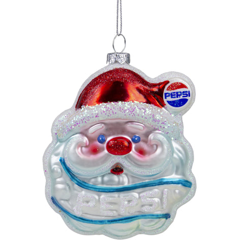 "4.5"" Blue and Red Glittered Santa Claus Head Pepsi Christmas Ornament"