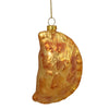 Golden Glittered Pierogi Glass Christmas Ornament 5""