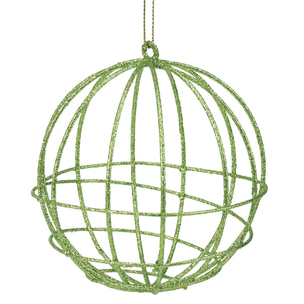 "Green Glittered Geometric Wired Christmas Ball Ornament 4"" (100mm)"