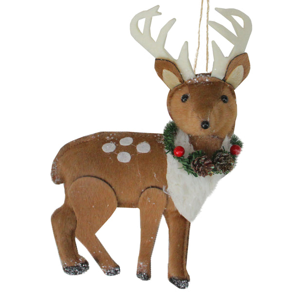 "8"" Brown and White Spot Reindeer with Antlers Christmas Ornament"