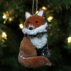 "6.5"" Brown and White Hanging Stuffed Fox Christmas Ornament"