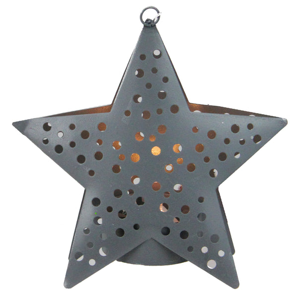 "4.5"" Gray Lighted Round Cut-Outs Petite Star Christmas Ornament"