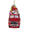 "4"" Red Fire Truck with Santa and Presents Glass Christmas Ornament"