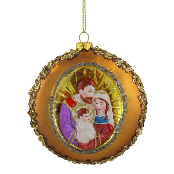 "4"" Joseph, Mary and Baby Jesus Sequin Religious Glass Disc Christmas Ornament"