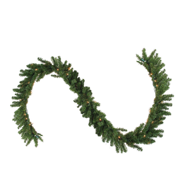 "9' x 14"" Pre-Lit Canadian Pine Artificial Christmas Garland - Clear Lights"