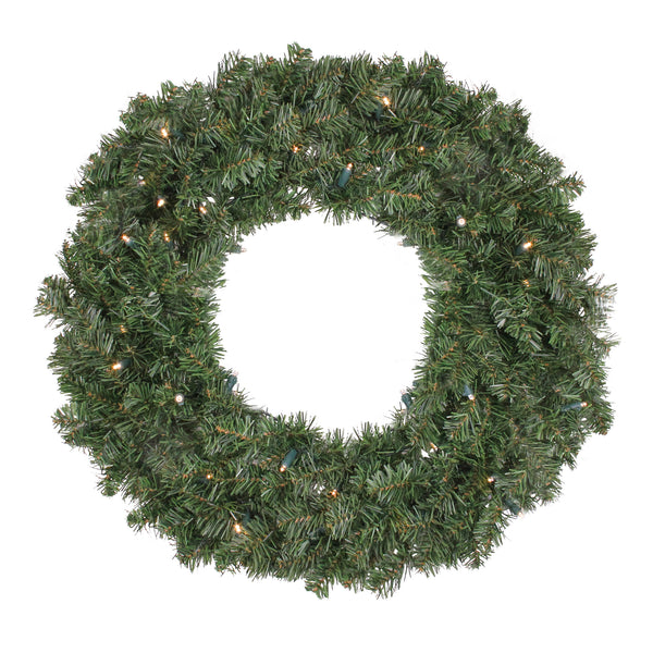 Pre Lit LED Canadian Pine Artificial Christmas Wreath - 24 inch, Clear Lights