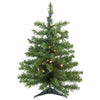 2' Pre-Lit Medium Canadian Pine Artificial Christmas Tree - Warm Clear Lights