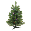 2' Pre-Lit Medium Canadian Pine Artificial Christmas Tree - Multicolor Lights